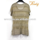 short sleeve knitwear lurex sweater for women