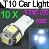 10 x T10 168 194 501 W5W 5 SMD 5050 LED Car Side Wedge Light Bulb Lamp 12V White