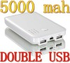 Mobile phone battery 5000 mah double usb outlet for iphone 4 4s ipad 2