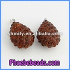 Wholesale Brown Crystal Pave Tear Drop Shape Necklace Pendants Charms CNP-Z05