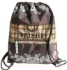 Polyester drawstring backpack for over-the-shoulder or backpack carry