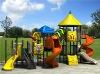 Plastic outdoor playground equipment with typhoon slide