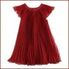 Fashion pleating sleeveless girls chiffon dress for summer