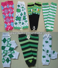 Saint Patrick Day Cotton Print Legwarmers Shamrock Knited Baby Leg Warmers in Stock