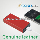 battery rechargeable charger mobile phone Genuine leather casing