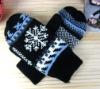 fashion women knitted snowflake gloves,winter mitten, winter glove