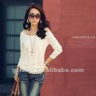 2012 Spring lady simpleness off-shoulder shirt