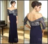 DR121111 2013 Style Elegant Custom-Made A-Line V-Neck Lace Middle Sleeves Prom Dress
