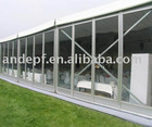 white party tent with glass panel wall