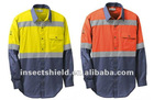 M's Insect Shield Color-blocked Twill Work Shirt with Hi-Vis
