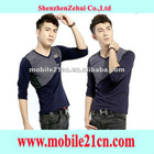 Mens Casual T-shirt Slim Fit V-Neck Stitching Color Long Sleeved Shirt Size L XL XXL SL00220L
