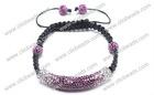 Fashion Purple Crystal Shamballa Tube Bracelet With Beads