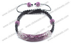 Fashion Purple Crystal Shamballa Tube Bracelet With Beads