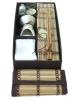 brown/cream bamboo lid oil burner gift set