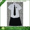 Girl's White Shirt & Black Pleated Skirt Middle or High School Uniform