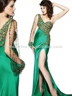 Exclusive Swirling Jewels at Side of Bodice Emerald Sequin Crystal Beaded One Shoulder Pageant Evening Dress