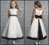 K4517 Beautiful and Lovely Ankle-length With Black Bow Satin Flower Girl Dress