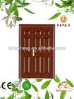 Exterior steel double door with unequal leaves design