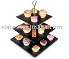 square shape slate 3 tier cake stand