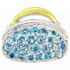 Fashion 925 Sterling Silver Topaz Gentle Lady Purse 18K Gold Pendant