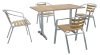 aluminum frame teakwood top table and chair