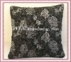 black ribbon embroidery cushion
