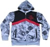Children's all over print zip up hoody fleece sweatshirt China supplier
