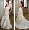 Classic A-line Strapless Soft Satin with Vintage Beaded Applique Cheap Bridal Dresses