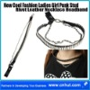 New Cool Fashion Ladies Girl Punk Stud Rivet Leather Necklace Headband 01