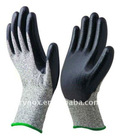 Cut resistant gloves with balck foam nitrile coated/ Anti-cut level 3