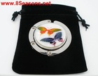 Silver Tone New Shell Folding Purse Hook Handbag Hanger 44mm W/ Velveteen Bag