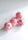 Lovely Pink flower painted Round wooden beads for DIY Jewelry