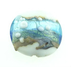 Bead, Oval Handmade Lampwork glass with silver foil,opaque white/blue,19-20mm oval with spots by uomissionbeads.com,