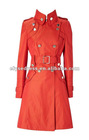 twill military mac high stand collar finished Cotton Twill Mac Coat Red CK033