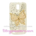 Gold Butterfly pearl phone case for Samsung SII T989