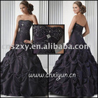Hot Sell Strapless Embroidery Taffeta Pick up Skirt Unique Beaded Prom Dresses - SX003