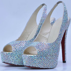 hot sale cls216 brand women crystal slingback peep toe high heel shoes