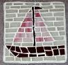 sailboat mosaic glass coaster