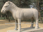 The white marble horse sculpture