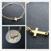 Gold Plated Double Chain Sideway Cross Bracelets 18K gold Jewelry