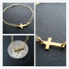 Gold Plated Double Chain Sideway Cross Bracelets 18K gold Jewelry