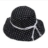 100% cotton custom girl's black bucket hat with white dot