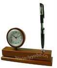Wooden Table Clock With Luxuly Brass Electroplate Baking Paint Pen Holder YBW-M056