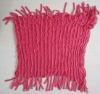 100% acrylic knit circle scarf enternity with fringe