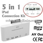 New 5 in 1 USB and SD Card Reader with AV to TV output Camera Connection Kit for iPad 2 ipad 3