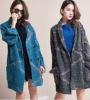 ej1011 Korean Street Style Women Fashion Plus Size Winter Long Knitted Cardigan