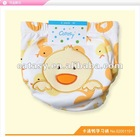 Pure cotton 3 layers waterproof TPU reusable cloth diapers with embroidered duck design diapers cloth