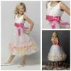 MF1117 Tea-Length Flowers Spaghetti Strap Sleeveless Cheap Cinderella Flower Girl Dresses