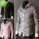 Mens Casual Slim Luxury Stylish Dress Shirt 4size 5 Colors M-2XL FREE SHIPPING
