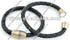 sample free Imitation leather bracelet woven 20,5cm and metal magnetic leather bracelet friendship bracelets